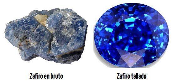 Piedra zafiro en bruto y pulida